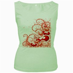 Love Heart Butterfly Pink Leaf Flower Women s Green Tank Top