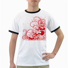 Love Heart Butterfly Pink Leaf Flower Ringer T-Shirts