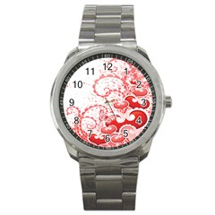 Love Heart Butterfly Pink Leaf Flower Sport Metal Watch