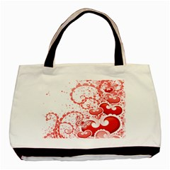 Love Heart Butterfly Pink Leaf Flower Basic Tote Bag