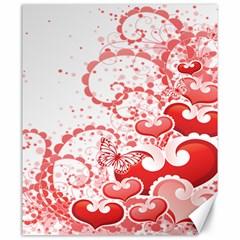 Love Heart Butterfly Pink Leaf Flower Canvas 20  x 24