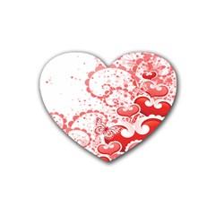 Love Heart Butterfly Pink Leaf Flower Rubber Coaster (Heart)