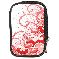 Love Heart Butterfly Pink Leaf Flower Compact Camera Cases