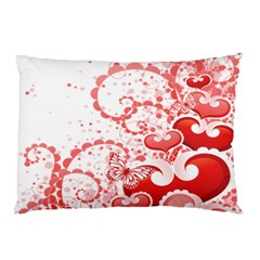 Love Heart Butterfly Pink Leaf Flower Pillow Case (Two Sides)