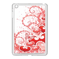 Love Heart Butterfly Pink Leaf Flower Apple iPad Mini Case (White)