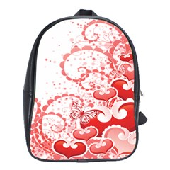 Love Heart Butterfly Pink Leaf Flower School Bags (XL)