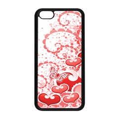 Love Heart Butterfly Pink Leaf Flower Apple iPhone 5C Seamless Case (Black)