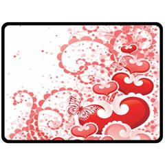 Love Heart Butterfly Pink Leaf Flower Double Sided Fleece Blanket (Large)