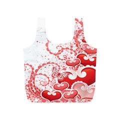 Love Heart Butterfly Pink Leaf Flower Full Print Recycle Bags (S)