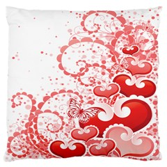 Love Heart Butterfly Pink Leaf Flower Standard Flano Cushion Case (two Sides)