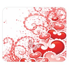 Love Heart Butterfly Pink Leaf Flower Double Sided Flano Blanket (Small)