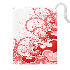 Love Heart Butterfly Pink Leaf Flower Drawstring Pouches (XXL)