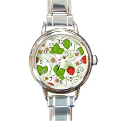 Strawberry Fruit Leaf Flower Floral Star Green Red White Round Italian Charm Watch