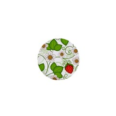 Strawberry Fruit Leaf Flower Floral Star Green Red White 1  Mini Magnets