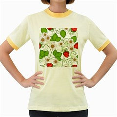 Strawberry Fruit Leaf Flower Floral Star Green Red White Women s Fitted Ringer T-Shirts
