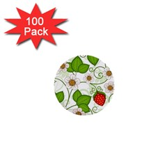 Strawberry Fruit Leaf Flower Floral Star Green Red White 1  Mini Buttons (100 pack)