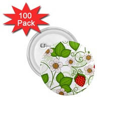 Strawberry Fruit Leaf Flower Floral Star Green Red White 1.75  Buttons (100 pack)