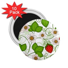 Strawberry Fruit Leaf Flower Floral Star Green Red White 2.25  Magnets (10 pack)