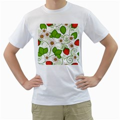 Strawberry Fruit Leaf Flower Floral Star Green Red White Men s T-Shirt (White) (Two Sided)