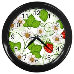 Strawberry Fruit Leaf Flower Floral Star Green Red White Wall Clocks (Black)