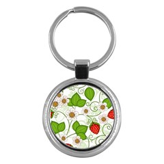 Strawberry Fruit Leaf Flower Floral Star Green Red White Key Chains (Round)