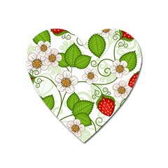 Strawberry Fruit Leaf Flower Floral Star Green Red White Heart Magnet