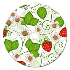 Strawberry Fruit Leaf Flower Floral Star Green Red White Magnet 5  (Round)