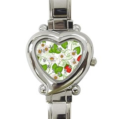 Strawberry Fruit Leaf Flower Floral Star Green Red White Heart Italian Charm Watch