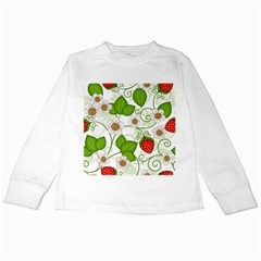 Strawberry Fruit Leaf Flower Floral Star Green Red White Kids Long Sleeve T-Shirts