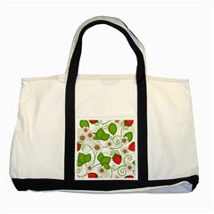 Strawberry Fruit Leaf Flower Floral Star Green Red White Two Tone Tote Bag