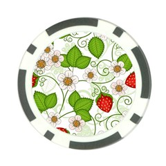 Strawberry Fruit Leaf Flower Floral Star Green Red White Poker Chip Card Guard