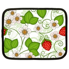 Strawberry Fruit Leaf Flower Floral Star Green Red White Netbook Case (Large)