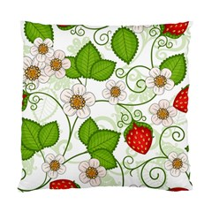 Strawberry Fruit Leaf Flower Floral Star Green Red White Standard Cushion Case (Two Sides)