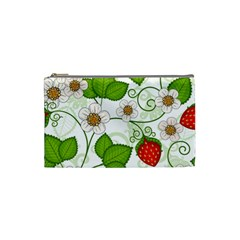 Strawberry Fruit Leaf Flower Floral Star Green Red White Cosmetic Bag (Small)