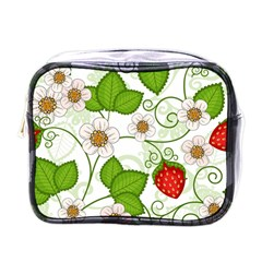 Strawberry Fruit Leaf Flower Floral Star Green Red White Mini Toiletries Bags