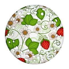 Strawberry Fruit Leaf Flower Floral Star Green Red White Ornament (Round Filigree)