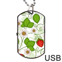 Strawberry Fruit Leaf Flower Floral Star Green Red White Dog Tag USB Flash (Two Sides)