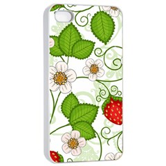 Strawberry Fruit Leaf Flower Floral Star Green Red White Apple iPhone 4/4s Seamless Case (White)