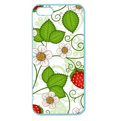 Strawberry Fruit Leaf Flower Floral Star Green Red White Apple Seamless iPhone 5 Case (Color)