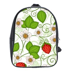 Strawberry Fruit Leaf Flower Floral Star Green Red White School Bags (XL)