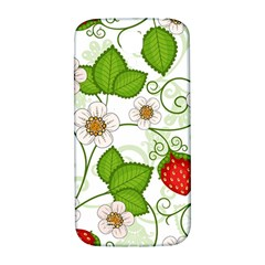 Strawberry Fruit Leaf Flower Floral Star Green Red White Samsung Galaxy S4 I9500/I9505  Hardshell Back Case