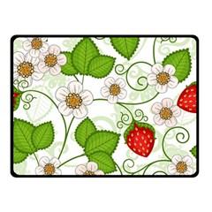 Strawberry Fruit Leaf Flower Floral Star Green Red White Double Sided Fleece Blanket (Small)