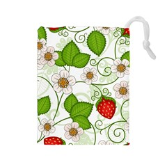 Strawberry Fruit Leaf Flower Floral Star Green Red White Drawstring Pouches (Large)