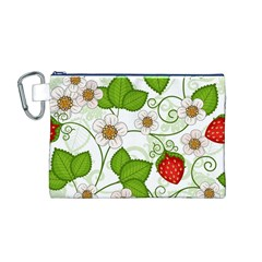 Strawberry Fruit Leaf Flower Floral Star Green Red White Canvas Cosmetic Bag (M)