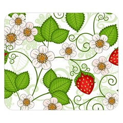 Strawberry Fruit Leaf Flower Floral Star Green Red White Double Sided Flano Blanket (Small)