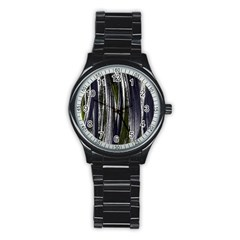 Abstraction Stainless Steel Round Watch
