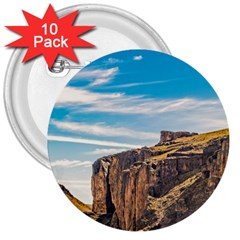 Rocky Mountains Patagonia Landscape   Santa Cruz   Argentina 3  Buttons (10 pack)