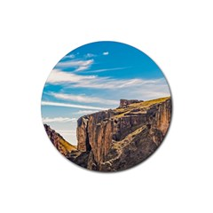 Rocky Mountains Patagonia Landscape   Santa Cruz   Argentina Rubber Round Coaster (4 pack)
