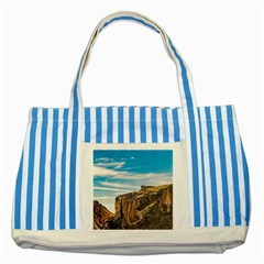 Rocky Mountains Patagonia Landscape   Santa Cruz   Argentina Striped Blue Tote Bag