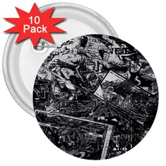 Vintage newspaper  3  Buttons (10 pack)